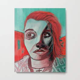 Women with the Red Stare Metal Print