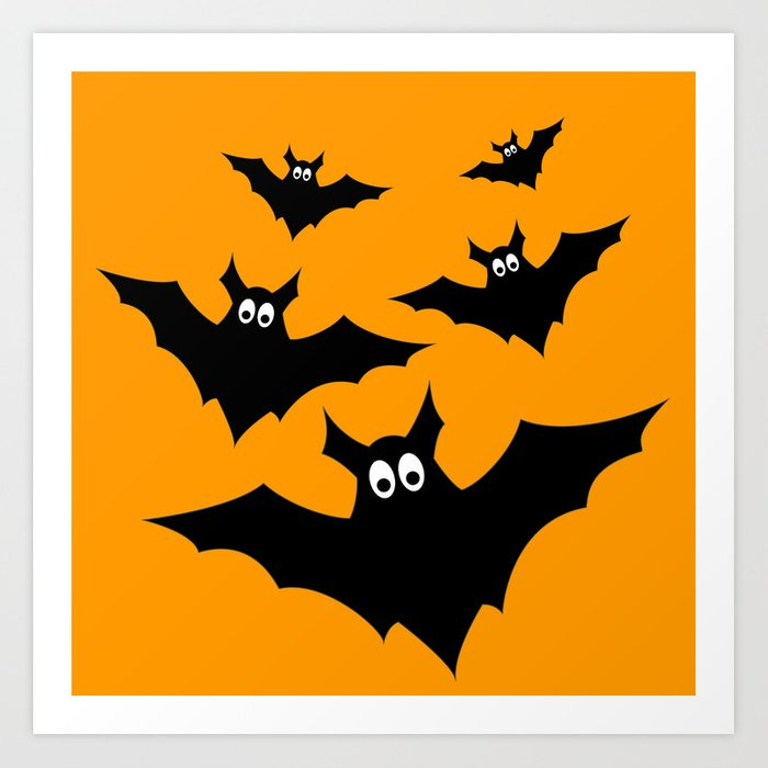 cool cute black flying bats halloween art print by pldesign society6