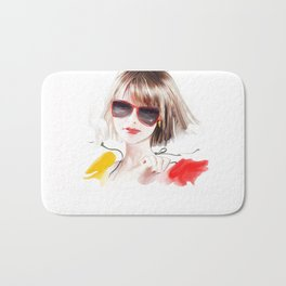 blonde in glasses Bath Mat
