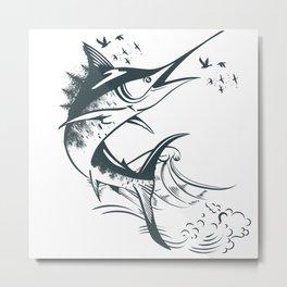 Sea artistic marlin fish in waves, vector illustration Metal Print