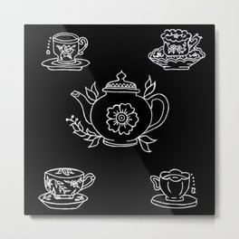 Floral Tea Kettle Tea Cups and Saucers Set Illustration Metal Print