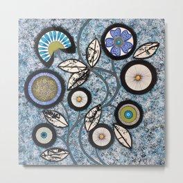 Lovely Flowers Blue Metal Print