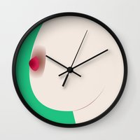 boob Wall Clocks featuring Boob Time by Black Monkey