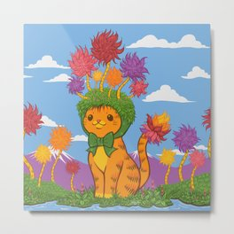 Orange Cat Wears Fluffy Tree Hat Metal Print