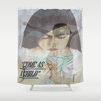 "religious Shower Curtains featuring ""COME AS A CHILD"", religious art by Saribelle by Saribelle Inspirational Art"
