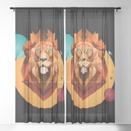 Lion king of the jungles Sheer Curtain