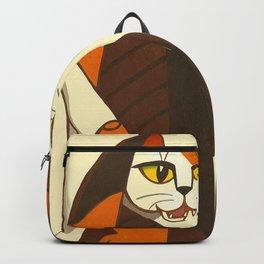 Inagaki Tomoo Vintage Japanese Woodblock print mid century Modern Cubism Art Cats Feline Backpack