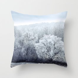Foggy Winter Landscape with snow covered Trees Throw Pillow