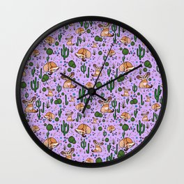 Fennec Foxes in Purple Wall Clock