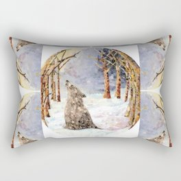 Wolf Oval Pattern Rectangular Pillow