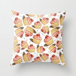 Pink Cupcakes Throw Pillow