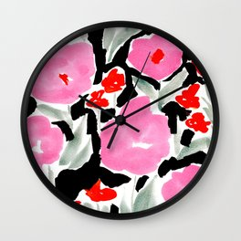 Pink Modern Flowers L.A. Chic Cute Girls Room Pink Abstract Red Flowers Wall Clock