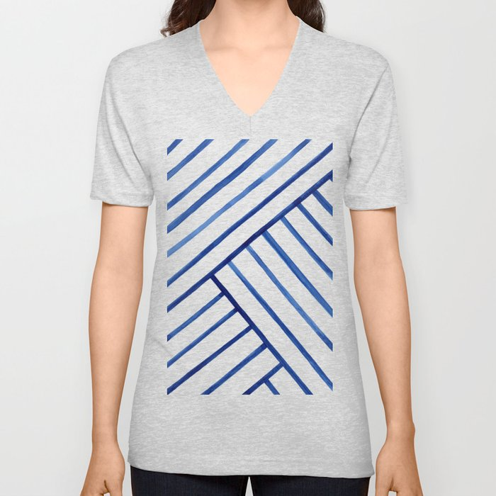 Watercolor lines pattern | Navy blue Unisex V-Neck