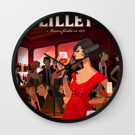 Vintage French Lillet Rouge Wine Aperitif Advertisement Poster Wall Clock