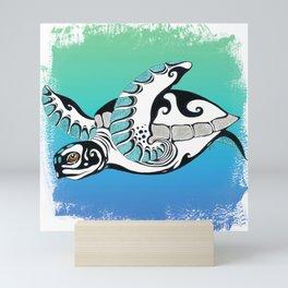 Sea Turtle Teal Tribal Ink Mini Art Print