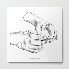 BLACK AND WHITE HANDS WITH PLASTERS Metal Print