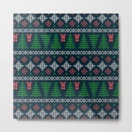 Christmas Tree Sweater Pattern - Dark Blue Metal Print