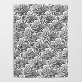 Vintage Japanese Waves, Gray / Grey and White Poster