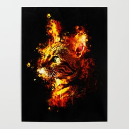 bengal cat yearns for freedom splatter watercolor Poster