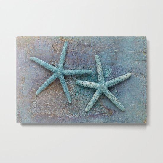 Turquoise Starfish on textured Background Metal Print