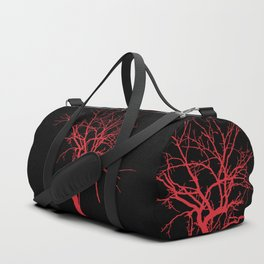 Witchy Tree Silhouette, red on black. Minimal minimalist minimalism Duffle Bag