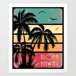 Aloha Hawaii Vintage SUnset Art Print