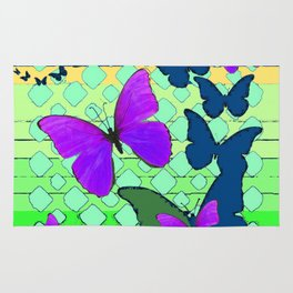 Modern Teal & Purple Butterfly Mint Green Pattern Art Rug