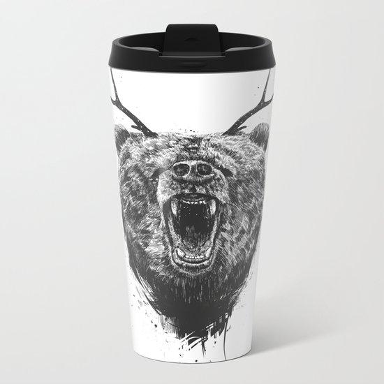 Angry bear with antlers Metal Travel Mug