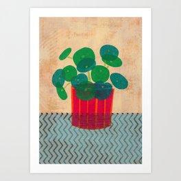 Pilea. Collage interior plant. Pilea Peperomioides. Botanical collage Art Print