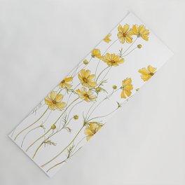 Yellow Cosmos Flowers Yoga Mat