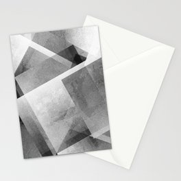 Black and Metallic Silver - Digital Geometric Texture Stationery Cards