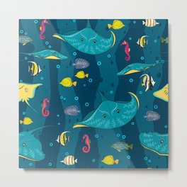 Decorative seamless pattern with sea fish on blue background. Metal Print