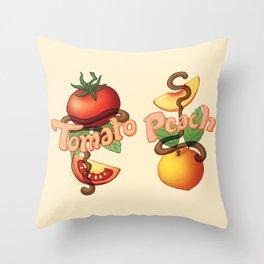 Peachy Tomato Throw Pillow