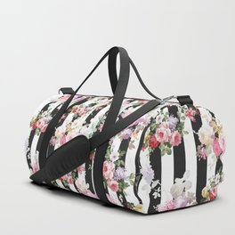Bold pink watercolor roses floral black white stripes Duffle Bag