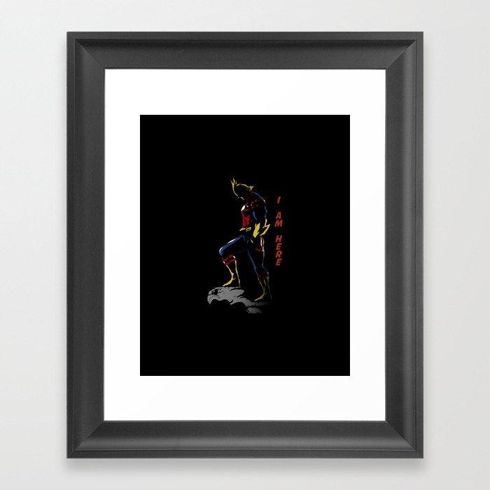 All Might Hero Pose Gerahmter Kunstdruck