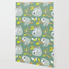 Sloth pattern in green Wallpaper