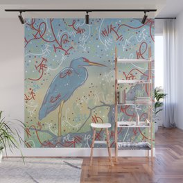 Very Blue Great Blue Heron Wall Mural