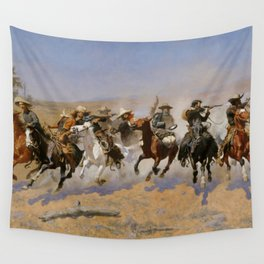 """Frederic Remington Western Art """"Dash For The Timber"""" Wall Tapestry"""