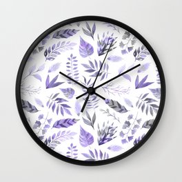 Modern hand painted purple violet watercolor leaves Wall Clock
