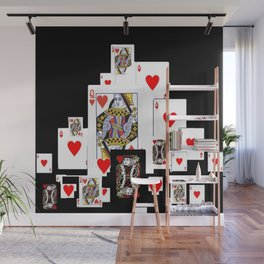 RED CASINO COURT PLAYING CARDS IN BLACK Wall Mural
