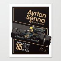 senna Canvas Prints featuring Ayrton Senna x JPS by Sean Kane Design
