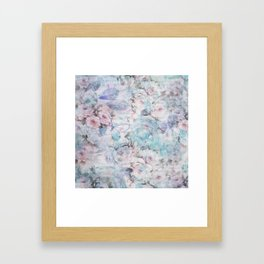 Shabby vintage pastel pink teal floral butterfly typography Framed Art Print