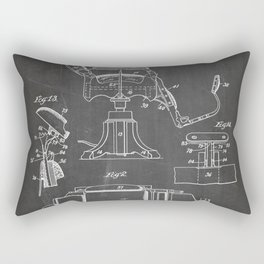 Barbers Chair Patent - Barber Art - Black Chalkboard Rectangular Pillow