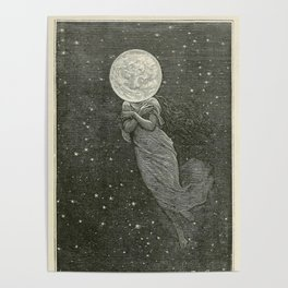 Antique Moon Woman Poster