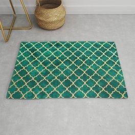 Moroccan Teal Green Gold Quatrefoil Art Deco Pattern Rug