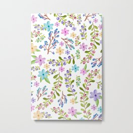 Pastel twigs floral waterolor pattern Metal Print