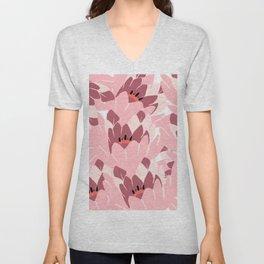 Hand painted burgundy blush pink floral illustration Unisex V-Neck