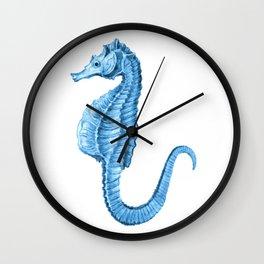 Seahorse nautical blue watercolor Wall Clock