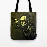 u2 Tote Bags featuring U2 / Bono 1 by JR van Kampen