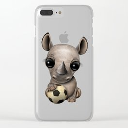 Cute Baby Rhino With Football Soccer Ball Clear iPhone Case